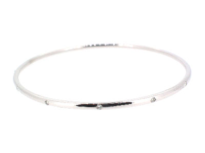 Bangle with diamond in 14K WHITE GOLD - 1046JNBD