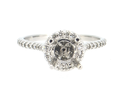 Halo Diamond Engagement Ring in 18k White Gold - 1705JNRE