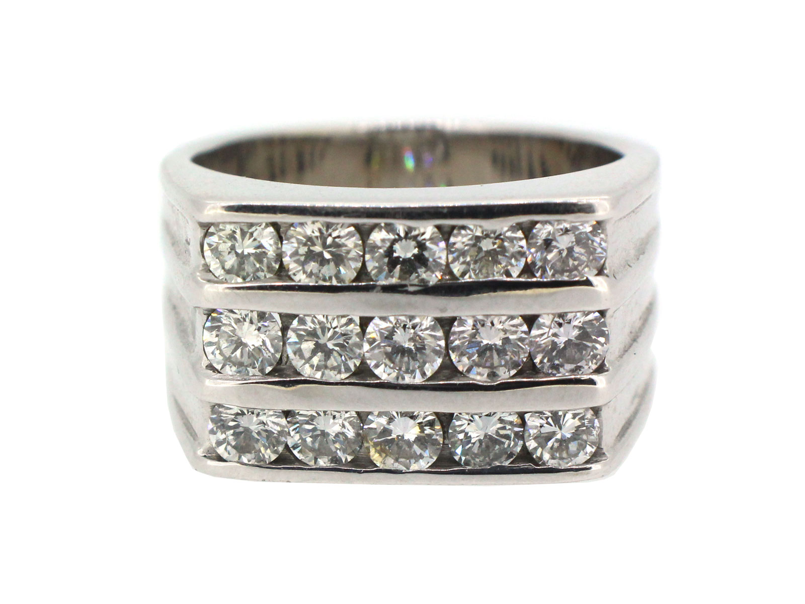 Stainless Steel 2 Color Burnish-Set Criss-Cross Milgrain Edge Comfort Fit Wedding Band Ring with Clear CZ